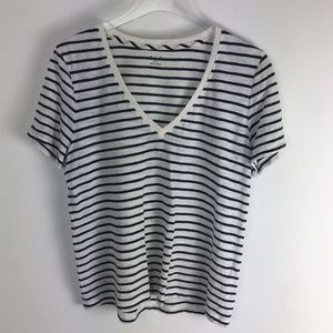 Madewell v neck tee shirt top navy & white L